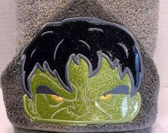Green Monster Hulk hooded towel superhero