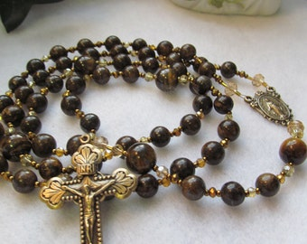 Catholic Rosary Bronzite and Tigers Eye Brown Rosary