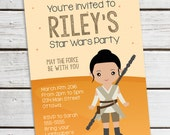 Personalized Printable Rey Invitation - Personalized Printable Invite inspired by Rey from Star Wars, Star Wars Invite .. sw01