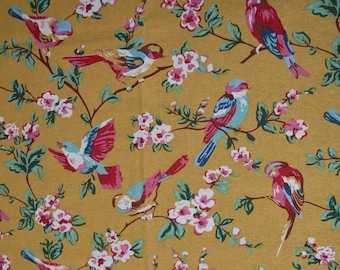 three colors  british style bird and flower cotton and flax fabric for tablecloth curtain bolster clothing one yard