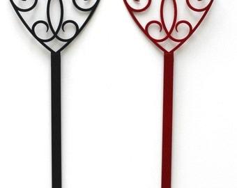 Heart Wreath Holder - Door Wreath Hanger -  Thin Metal Door Hanger - Long Wreath Hanger