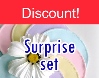 DISCOUNT - Nursing pads - Five sets - Surprise set - Organic Bamboo Velour and PUL - Ready to ship