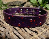 "Custom Listing For Jeff.  Embossed 1"" Cocoa Brown Leather Collar with red dots and red crystal rivets."