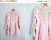ON SALE // 60s Pink Bohemiah Mini Dress / 1960s Dress / Lace / Crocheted Dress / Size S/M