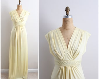 70s Sweet Sunshine Maxi Dress / 1970s Maxi Dress / Party Dress / Evening Gown/ Evening Dress / Size M/L