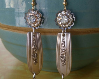 UPCYCLED RHINESTONE and SPOON earrings, repurposed silverware, one of a kind jewelry, vintage rhinestone, silverware, wedding jewelry