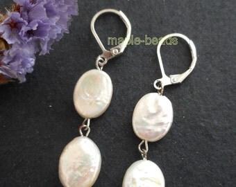 "1.25"" Genuine white Pearls EARRINGS,  silver leverback hooks"