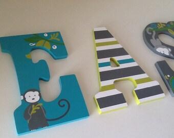Custom Painted Gender Neutral Letters - Safari Monkey