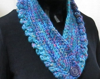 Blue Scarf, Crocheted Scarf, River Blues, Wool Scarf  20801