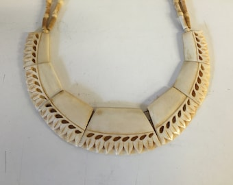 This Stunning All Carved Bone Statement Collar Necklace is a Great Show Piece.