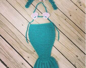 Newborn Baby Girl Ariel Inspired Crocheted Green n Purple MERMAID TAIL Photo Prop w/SeaShell Bikini and Headband w/Pearl ~ Cute Photo Prop