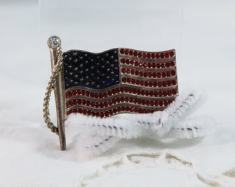 Older American Flag With Rhinestones Pin