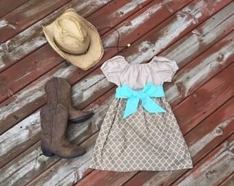 Girls Fall Dress Tan Khaki Lattice Aqua Sash 6 12 18 24 2T 3T 4T 5/6 7/8 9/10 11/12 Rustic Western Boho Flower Girl Sister Dresses Outfits
