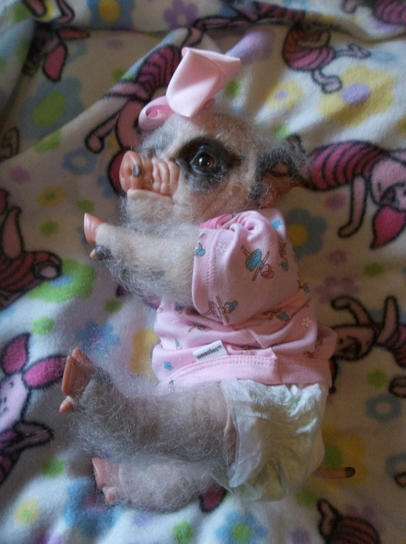 Reborn Ready To Ship Fuzzy Rooted Pig Piggy Baby Artist Doll