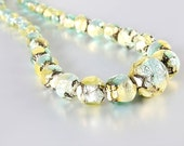 Venetian glass bead Necklace, Murano Teal Gold Foil vintage 1960s jewelry