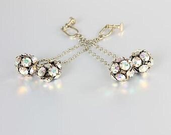Rhinestone Ball Earrings, Aurora Borealis Mod Chandelier Screw Back Earrings, Vintage jewelry