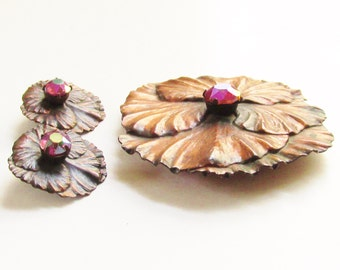 Large Vintage Modern Copper Rhinestone Flower Brooch Earrings signed Dafri 1970s