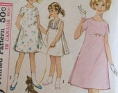 Vintage 1963 Girl A Line Dress - Simplicity 5334 - Size 10 - Girls