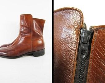 Vintage 70s Brown Beatle Boots Leather Talon Zipper Shoes Ankle Boots - Size 9 1/2 C