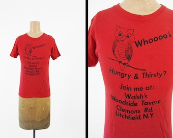Vintage 70s Litchfield Owl T-shirt Walsh's Woodside Tavern Red Cotton - XS / Small