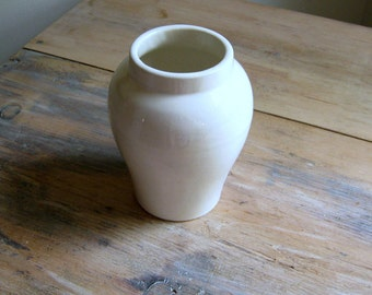 Vintage Cookson Vase, Ginger Jar Pot, Ivory White Pottery