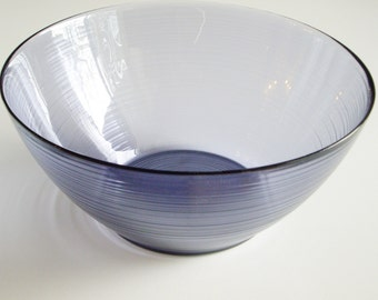 Vintage Glass, Salad Bowl, Jardiniere, Arcoroc, Purple, Amethyst, Made in France, Large Bowl, Fruit Bowl, Popcorn Bowl, Serving Bowl