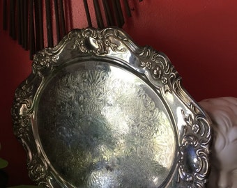 Jowle stamped Silverplated serving tray. Perfect for entertaining. FigHouseVintage
