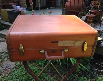 Vintage suitcase, leather suitcase, vintage samsonite, brown leather suitcase