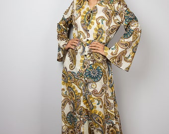 Paisley Dress / Boho Dress / Modest Long Maxi Dress with Paisley Print : Bohemian Soul Collection No.1