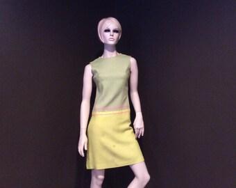 Vintage Chartreuse and  Green Linen Dress, Vintage Clothing, Vintage Dress, Vintage Sixties Dress, 1960's Dress