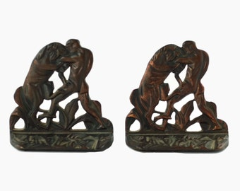Vintage Art Deco Gladiator and Lion Cast Iron Bookends with Bronze Finish