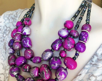 Purple Fluorite Stone Necklace / Radiant Orchid Purple Chunky Stone Statement Necklace / Purple and Silver Jewelry
