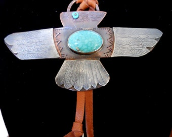 Handmade, Thunderbird Pendant, Copper, Sterling Silver, Southwestern Jewelry, One of a kind, Thunderbird Jewelry, Turquoise Jewelry