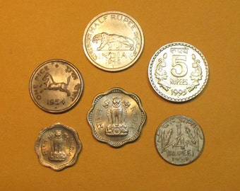 India 6 coin lot, interesting Indian coins mix, mostly mid 1900's issues, different denominations,world coin group, rupee, anna