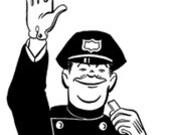 Policeman Cop Man Stop Whistle Crossing Traffic - Digital Image - Vintage Art Illustration - Instant Download