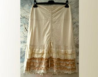 Women's skirt, ecru cotton skirt, ruffles skirt, boho skirt, gypsy artsy skirt, unique romantic skirt, upcycled clothing, recycled skirt