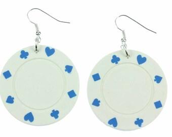 [BUNDLE] [OR00591B] Poker chip earrings earrings of Miniblings Poker Casino Las Vegas gambling white