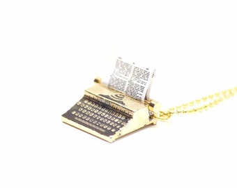 [BUNDLE] [KETTE0213] Miniblings necklace typewriter chain 80 cm author writer Gilds