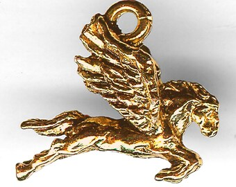 PEGASUS Charm. Gold Finish Pewter. 3D Flying Horse. Made in the USA.