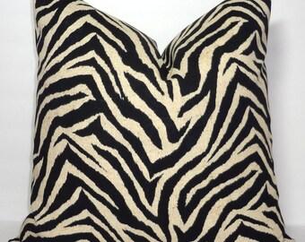 OUTDOOR Zebra Animal Print Pillow Cover Black Ivory Beige Stripes Patio Decor Choose Size