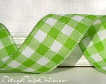 "Wired Ribbon 2 1/2"" Lime Green and White Country Gingham Check - THREE YARDS - Offray ""Sinclair Citrus"" Plaid Spring Wire Edged Ribbon"