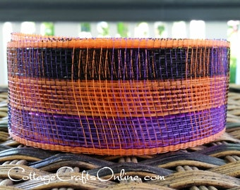"CLEARANCE! Halloween Mesh Ribbon, 2 1/2"" Black, Purple, Orange Plaid Netting - TWENTY FIVE Yard Roll -  Check Decorative Mesh Ribbon"