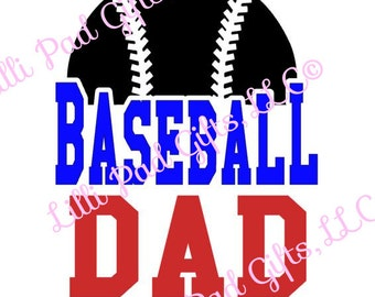Baseball DAD - Half Baseball - Cut File - Instant Download - SVG and DXF for Cameo Silhouette Studio Software & other Cutter Machines