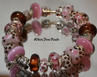 Chocolate Covered Cherries European Style Charm Bracelet with Murano Glass Lampwork Beads Pink and Brown
