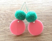 Spot Pom Drops - Pale Pink and Mint - Laser Cut Pompom Earrings