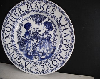 Vintage Staffordshire Mother Plate - Blue and White 1979