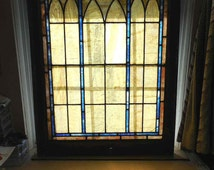 "Antique Stained Glass Window Simple Gothic Arches amber/blue 24"" x 30"""