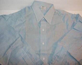 Elbeco Sanforized Work Shirt NOS Deadstock Vintage Cotton L/S Blue Stripe