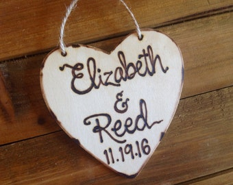 Holiday ornament personalized wood heart with names and date Christmas Engaged Wedding Anniversary Fiance