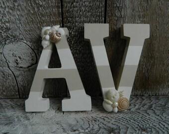Small Handpainted Beach Stripe Letters with Seashells Custom